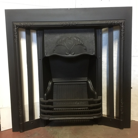 No171 original restored Victorian cast iron fireplace insert, w965 x h965mm, $585 open fire grate insert fireplace salvaged, recycled, demolition, reproduction, restoration, renovation,collectable, secondhand, used , original, old, reclaimed, heritage, antique, victorian, art nouveau edwardian, georgian, art deco