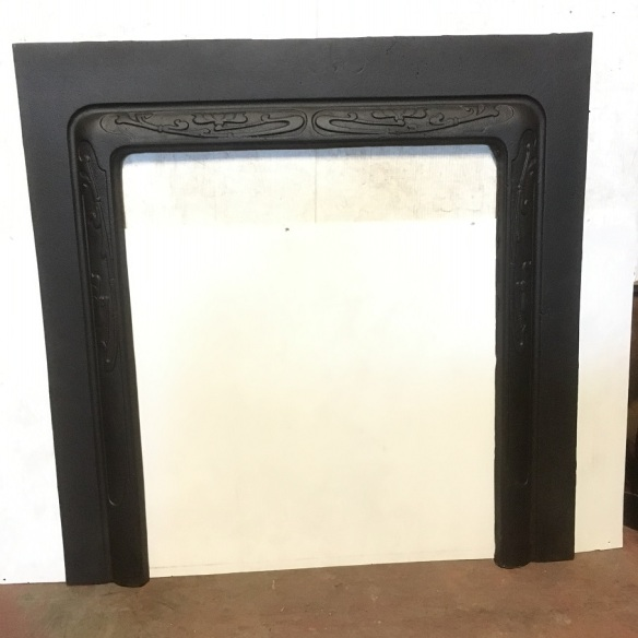 salvaged, recycled, demolition, reproduction, restoration, renovation,collectable, secondhand, used , original, old, reclaimed, heritage, antique, victorian, art nouveau edwardian, georgian, art deco Art Nouveau fireplace fascia frame, restored original cast iron with rounded border. Outer dimensions 965 x 965mm, inner dimensions w655 x h790mm $150