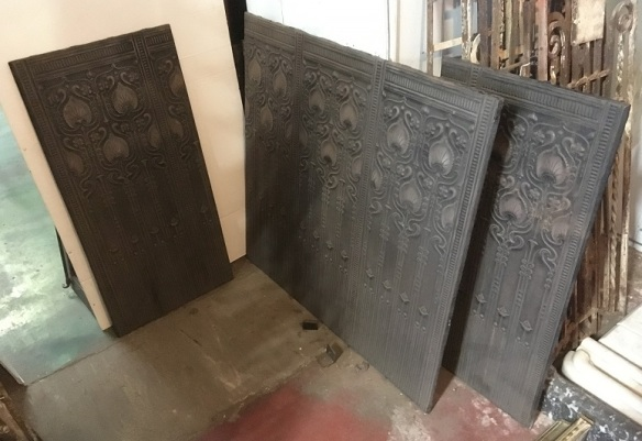 Set of three fireplace backing panels, heavy cast iron, reproduction of Art Nouveau design, 1 x panel h870 x w910mm with two matching side panels h870 x w425mm $725 salvaged, recycled, demolition, reproduction, restoration, home renovation secondhand, used , original, old, reclaimed, heritage, antique, victorian, art nouveau edwardian, georgian, art deco