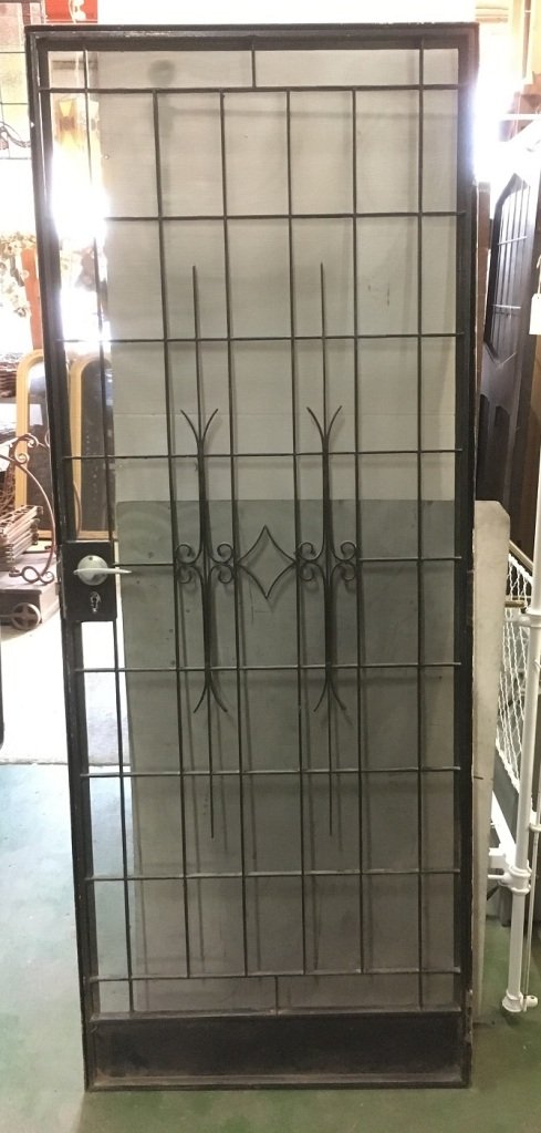 Steel and wrought iron screen security door in frame, with key 785 x 2000mm $440