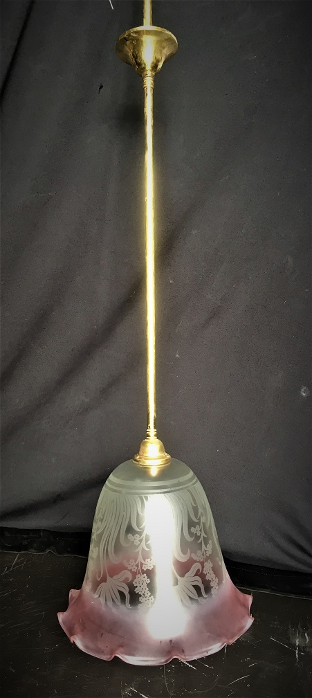 Single pendant brass light, approx drop 1250mm, etched glass fluted shade, pink edge diameter 270mm, $125 salvaged, recycled, demolition, reproduction, restoration, home renovation secondhand, used , original, old, reclaimed, heritage, antique, victorian, art nouveau edwardian, georgian, art deco