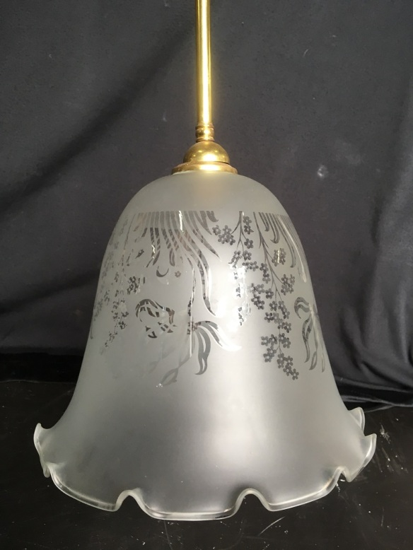 Single pendant brass light, approx drop 1250mm, frosted etch glass fluted shade, diameter 270mm, $125 salvaged, recycled, demolition, reproduction, restoration, home renovation secondhand, used , original, old, reclaimed, heritage, antique, victorian, art nouveau edwardian, georgian, art deco
