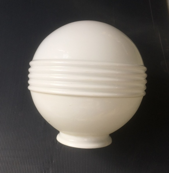 Art Deco style white ball shade with horizontal bands, 200mm diameter shade, 100mm opening, 2 available, $45 each