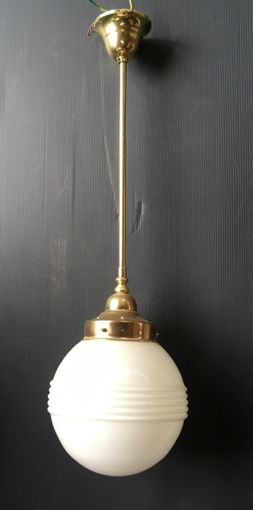 Art Deco style white ball shade with horizontal bands, 200mm diameter shade, 100mm opening, brass gallery and rod, overall height 700mm
