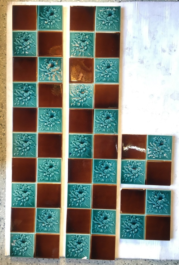 Original English Victorian fireplace tiles, aqua / turquoise with brown in square pattern, Set of 12 tiles, Possible to separate $70 per pair SET 239 salvaged washstand recycled demolition, reproduction, restoration, renovation,collectable, secondhand, used , original, old, reclaimed, heritage, antique, victorian, edwardian, georgian art nouveau ceramic arts and crafts decorative aesthetic Original English Victorian fireplace tiles, aqua / turquoise with brown in square pattern, Set of 12 tiles, $420 WS
