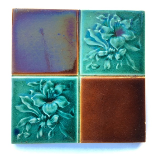 Detail of original English Victorian fireplace tiles, aqua / turquoise with brown in square pattern, Set of 12 tiles, Possible to separate $70 per pair SET 239salvaged washstand recycled demolition, reproduction, restoration, renovation,collectable, secondhand, used , original, old, reclaimed, heritage, antique, victorian, edwardian, georgian art nouveau ceramic arts and crafts decorative aesthetic Detail of original English Victorian fireplace tiles, aqua / turquoise with brown in square pattern, Set of 12 tiles, $420 WS