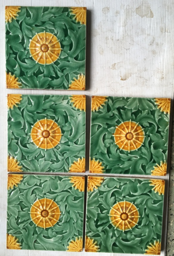 Original late Victorian Malkin Edge and Co fireplace feature tiles. 5 available. $38 each WS salvaged washstand recycled demolition, reproduction, restoration, renovation,collectable, secondhand, used , original, old, reclaimed, heritage, antique, victorian, edwardian, georgian art nouveau ceramic arts and crafts decorative aesthetic