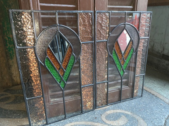 salvaged,Pair of leadlight panels , 430 mm x 288 mm , $145 each panel recycled, demolition, reproduction, restoration, renovation,collectable, secondhand, used , original, old, reclaimed, heritage, antique, victorian, art nouveau edwardian, georgian, art deco