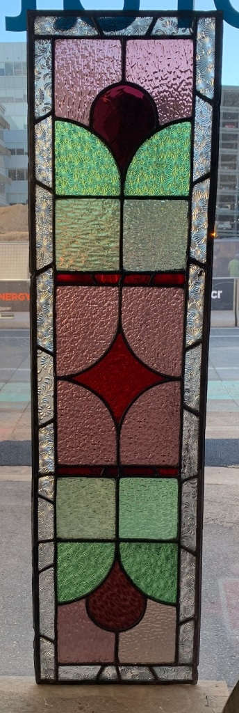 salvaged, Lead light Panel , 1135 mm x 300 mm, with geometric pattern , pink, greens and red glass, $ 325recycled, demolition, reproduction, restoration, renovation,collectable, secondhand, used , original, old, reclaimed, heritage, antique, victorian, art nouveau edwardian, georgian, art deco