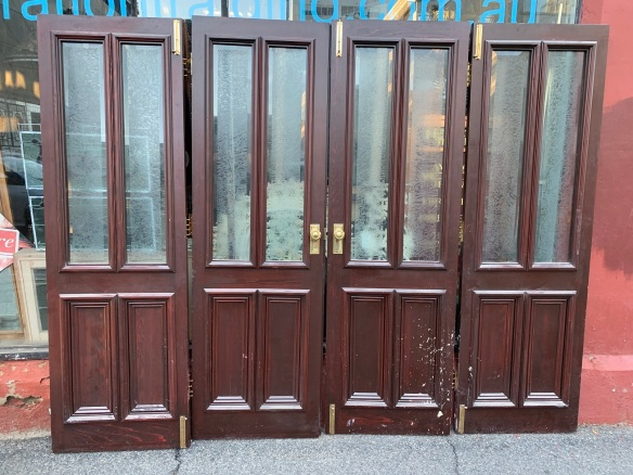 4 Bi-Fold doors with glass tops , 2550 mm wide in total , 2040 tall , $ 750 the set , including hinging and hardware salvaged, recycled, demolition, reproduction, restoration, renovation,collectable, secondhand, used , original, old, reclaimed, heritage, antique, victorian, art nouveau edwardian, georgian, art deco