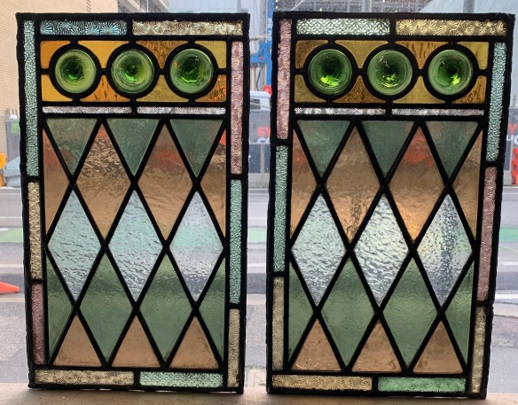Colourful leadlight panels with harlequin pattern and rondelles, 470 mm x 285 mm , $ 185 each , 2 available salvaged, recycled, demolition, reproduction, restoration, renovation,collectable, secondhand, used , original, old, reclaimed, heritage, antique, victorian, art nouveau edwardian, georgian, art deco