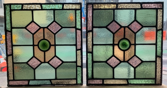 Leadlight panels , geometric pattern with , pinks, greens and amber glass, 405 mm x 375 mm , $ 185 each , 3 available salvaged, recycled, demolition, reproduction, restoration, renovation,collectable, secondhand, used , original, old, reclaimed, heritage, antique, victorian, art nouveau edwardian, georgian, art deco