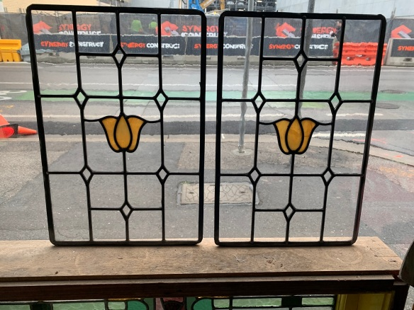 salvaged,Leadlight panels , 455 mm x 305 mm , $ 165 each , 3 available recycled, demolition, reproduction, restoration, renovation,collectable, secondhand, used , original, old, reclaimed, heritage, antique, victorian, art nouveau edwardian, georgian, art deco