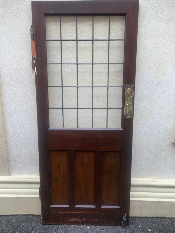 Bungalow door with leadlight glass , swing hinges and art nouveau push plate , 860mm x 2015mm , $585 door 6 salvaged, recycled, demolition, reproduction, restoration, renovation,collectable, secondhand, used , original, old, reclaimed, heritage, antique, victorian, art nouveau edwardian, georgian, art deco