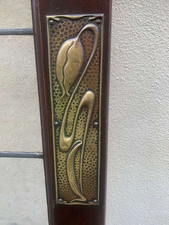Art Nouveau push plate on door 6 salvaged, recycled, demolition, reproduction, restoration, renovation,collectable, secondhand, used , original, old, reclaimed, heritage, antique, victorian, art nouveau edwardian, georgian, art deco