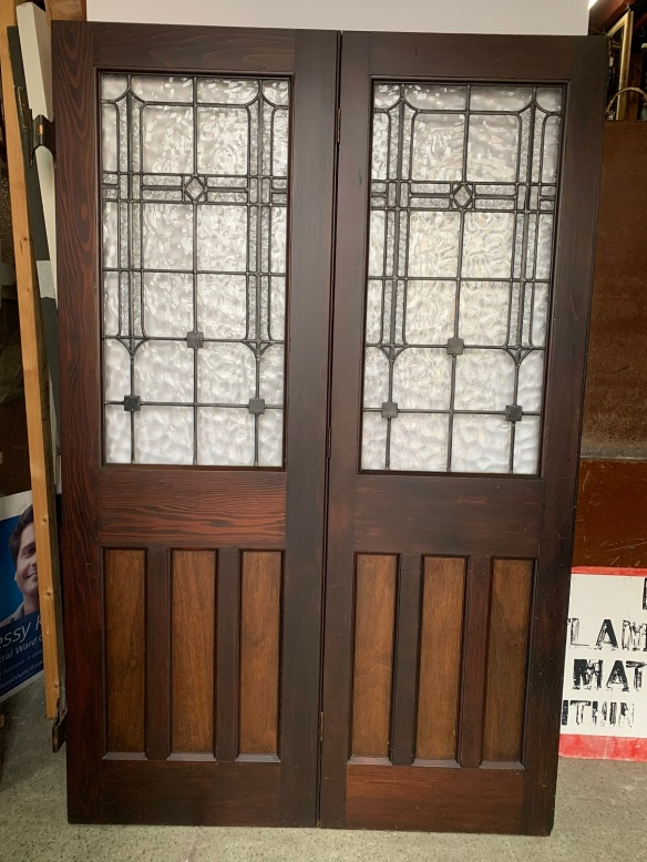 Bungalow Bi fold doors , consisting of 4 doors , ( picture depicting 2 of 4 ), lovely leadlight panels to each door , original finish , parliament hinges , height is 1995 mm , opening is 2560 mm , $2150 BIFOLDsalvaged, recycled, demolition, reproduction, restoration, renovation,collectable, secondhand, used , original, old, reclaimed, heritage, antique, victorian, art nouveau edwardian, georgian, art deco