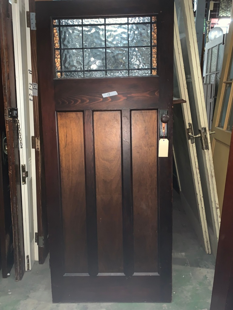 salvaged,Bungalow door with leadlight panel , original polished finish , 855 mm x 2020 mm , $ 245 door 12 recycled, demolition, reproduction, restoration, renovation,collectable, secondhand, used , original, old, reclaimed, heritage, antique, victorian, art nouveau edwardian, georgian, art deco