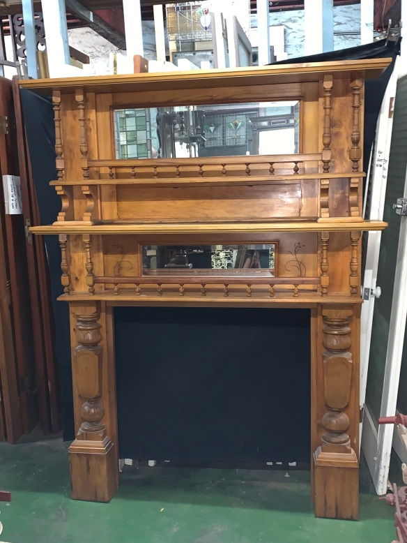 Edwardian Mantle with Overmantle , width of Mantle is 1475 mm , over all height is 1900 mm ( 1205 mmm + 605 mm ) opening is 915 mm wide x 905 mm tall , $985 , recycled, demolition, reproduction, restoration, renovation,collectable, secondhand, used , original, old, reclaimed, heritage, antique, victorian, art nouveau edwardian, georgian, art deco
