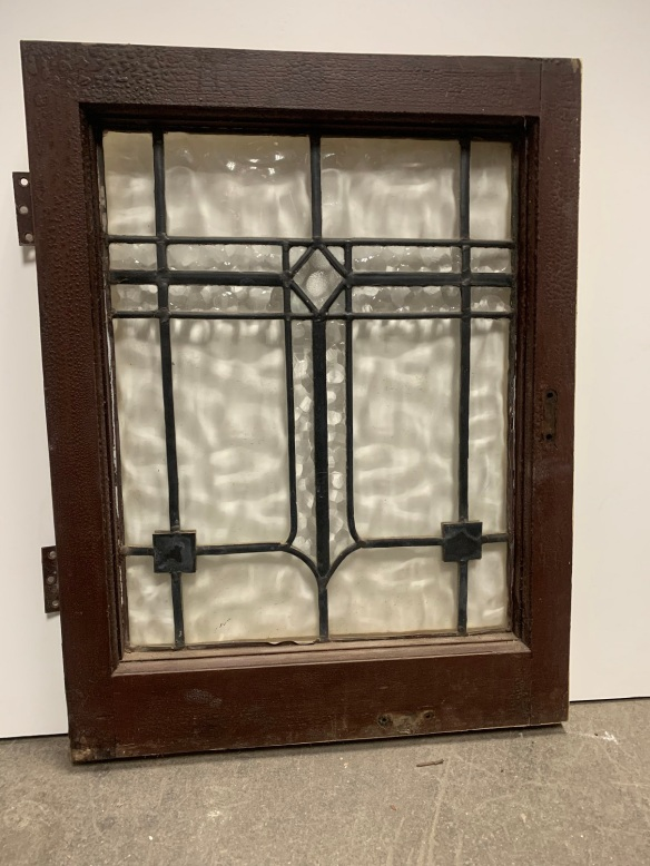 Arts and Crafts style leadlight panel in frame , frame is 605 mm x 375 mm , Glass size is 470 mm x 275 mm , $ 165 each , 2 available salvaged, recycled, demolition, reproduction, restoration, renovation,collectable, secondhand, used , original, old, reclaimed, heritage, antique, victorian, art nouveau edwardian, georgian, art deco