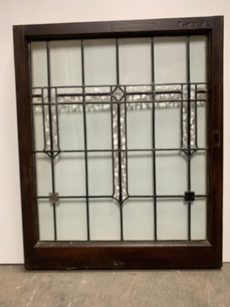 Arts and Crafts style leadlight panel in frame , frame size is 967 mm x 795 mm , glass size is 818mm x 695mm, $365
