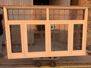 Bungalow window frame with casement windows , 2 have fly screens , polished finish to the inside and painted externally, 2310 mm wide x 1450 mm tall and 140 mm deep, $ 2400 window A salvaged, recycled, demolition, reproduction, restoration, renovation,collectable, secondhand, used , original, old, reclaimed, heritage, antique, victorian, art nouveau edwardian, georgian, art deco