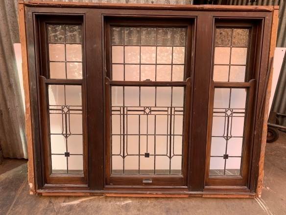 Bungalow window with 3 double hung sashes , polished inside and paint finish to exterior, 1985 mm x 1510mm x 140 mm ,, we have another with matching leadlight , but slightly different size, 1870 mm x 1510 mm x 140 mm , $ 2150 each Window B and C salvaged, recycled, demolition, reproduction, restoration, renovation,collectable, secondhand, used , original, old, reclaimed, heritage, antique, victorian, art nouveau edwardian, georgian, art deco