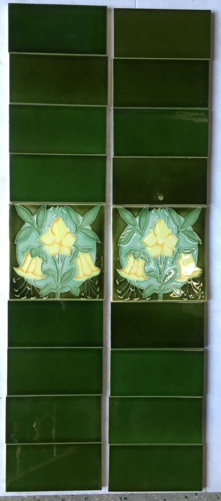 salvaged, recycled, demolition, reproduction, restoration, renovation,collectable, secondhand, used , original, old, reclaimed, heritage, antique, victorian, art nouveau edwardian, georgian, art deco Porteous NZ reproduction picture tile, Aesthetic style yellow flowers on green background $145 OTB 5
