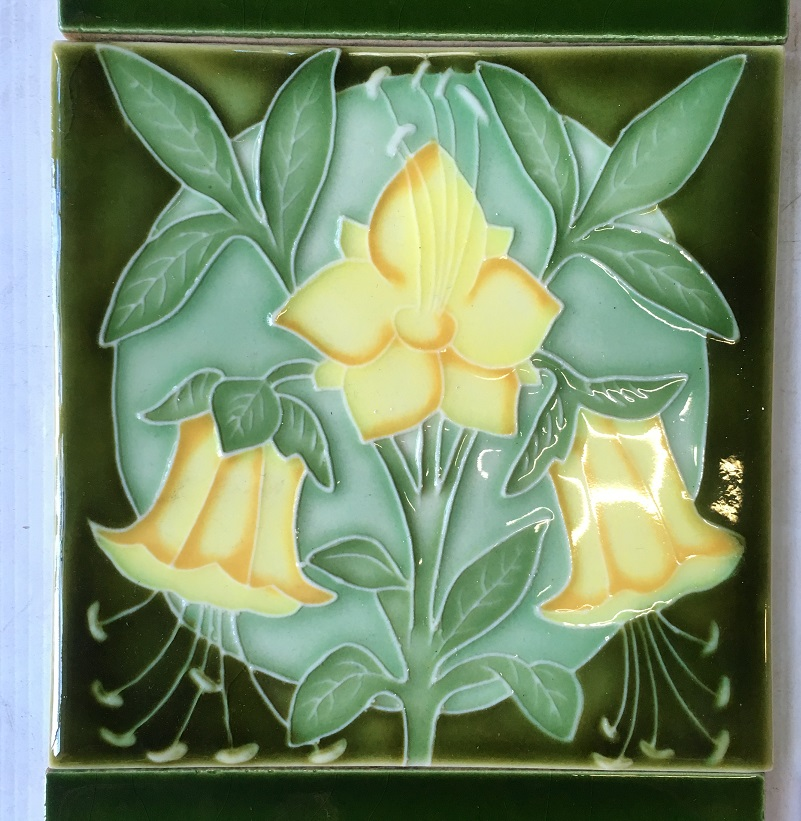 salvaged, recycled, demolition, reproduction, restoration, renovation,collectable, secondhand, used , original, old, reclaimed, heritage, antique, victorian, art nouveau edwardian, georgian, art deco detail of Porteous NZ reproduction picture tile, Aesthetic style yellow flowers on green background $145 OTB 5