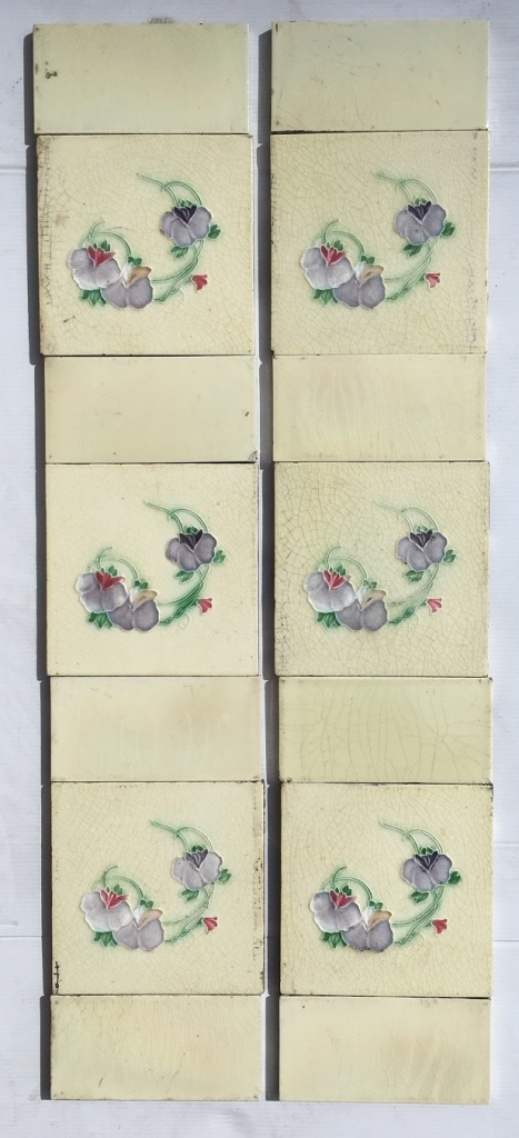 salvaged, recycled, demolition, reproduction, restoration, renovation,collectable, secondhand, used , original, old, reclaimed, heritage, antique, victorian, art nouveau edwardian, georgian, art deco H. Richards Tile Co c 1902-1909 Art Nouveau fireplace tile set, purple and pink violet / pansy flowers on cream background, $320, OTB 9