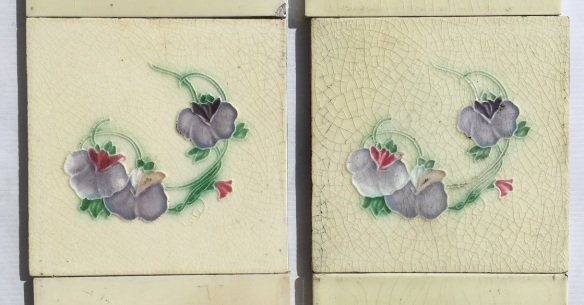 salvaged, recycled, demolition, reproduction, restoration, renovation,collectable, secondhand, used , original, old, reclaimed, heritage, antique, victorian, art nouveau edwardian, georgian, art deco Detail of H. Richards Tile Co c 1902-1909 Art Nouveau fireplace tile set, purple and pink violet / pansy flowers on cream background, $320, OTB 9