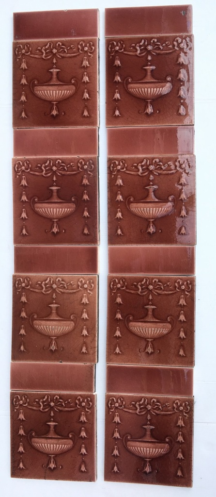 H. Richards Tile Co c1902-1909, madder pink/brown glaze, moulded urn and garland design, $320 for the 2 panel fireplace set, OTB 6 salvaged, recycled, demolition, reproduction, restoration, renovation,collectable, secondhand, used , original, old, reclaimed, heritage, antique, victorian, art nouveau edwardian, georgian, art deco