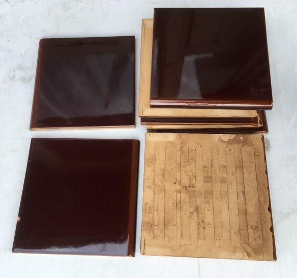 H and E Smith - England thick bisque teapot brown wall / hearth tiles 6 x 6 inch, (152 x 152mm), some minor scratches, scuffs,11 available, $15 per tile SET 133