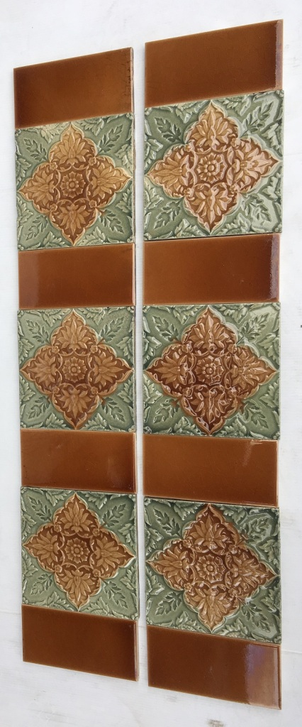 salvaged, recycled, demolition, reproduction, restoration, renovation,collectable, secondhand, used , original, old, reclaimed, heritage, antique, victorian, art nouveau edwardian, georgian, art deco Detail of original Victorian fireplace tiles, fern grey green with madder brown glazes, 2 panel set $350 OTB 8