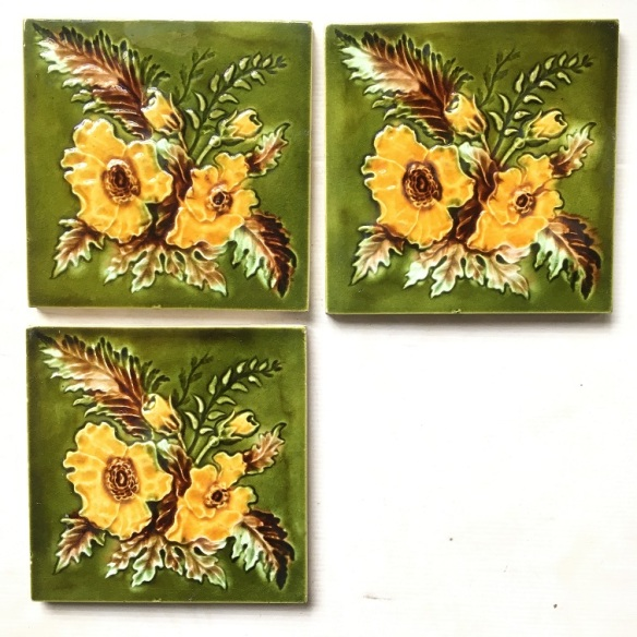 Detail of late Victorian / Aesthetic fireplace feature tiles 6x6 inch, rich green with warm yellow flowers 3 available $35 each SET 259 (match two panel fireplace set OTB 118 if still available) Original Victorian tiles, floral, yellow green and teapot brown glaze, 3 available $45 each WS