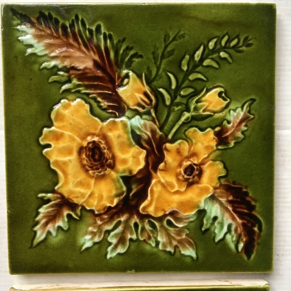 Detail of late Victorian / Aesthetic fireplace feature tiles 6x6 inch, rich green with warm yellow flowers, two panel fireplace set $250 (OTB 118) salvaged, recycled, demolition, reproduction, restoration, renovation,collectable, secondhand, used , original, old, reclaimed, heritage, antique, victorian, art nouveau edwardian, georgian, art deco Original Victorian tiles, floral, yellow green and teapot brown glaze, 3 available $45 each WS