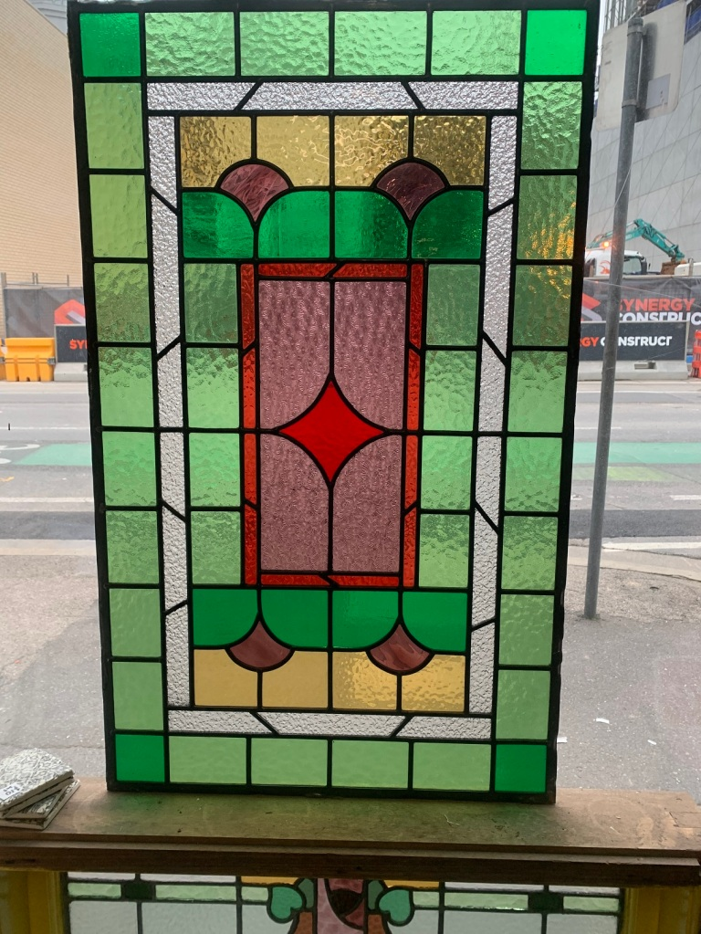 Large geometric leadlight panel , 960 mm x 585 mm , $ 385 salvaged, recycled, demolition, reproduction, restoration, renovation,collectable, secondhand, used , original, old, reclaimed, heritage, antique, victorian, art nouveau edwardian, georgian, art deco