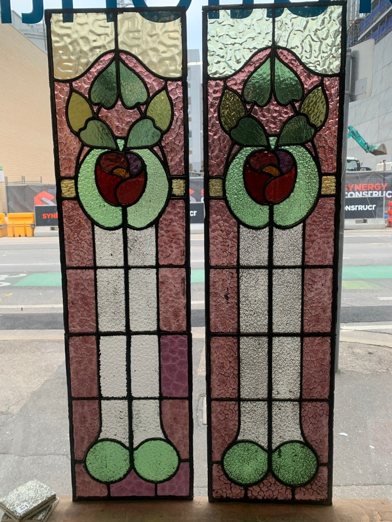 Pair of leadlight panels, 1135 mm x 300 mm , $ 385 each , 2 available salvaged, recycled, demolition, reproduction, restoration, renovation,collectable, secondhand, used , original, old, reclaimed, heritage, antique, victorian, art nouveau edwardian, georgian, art deco