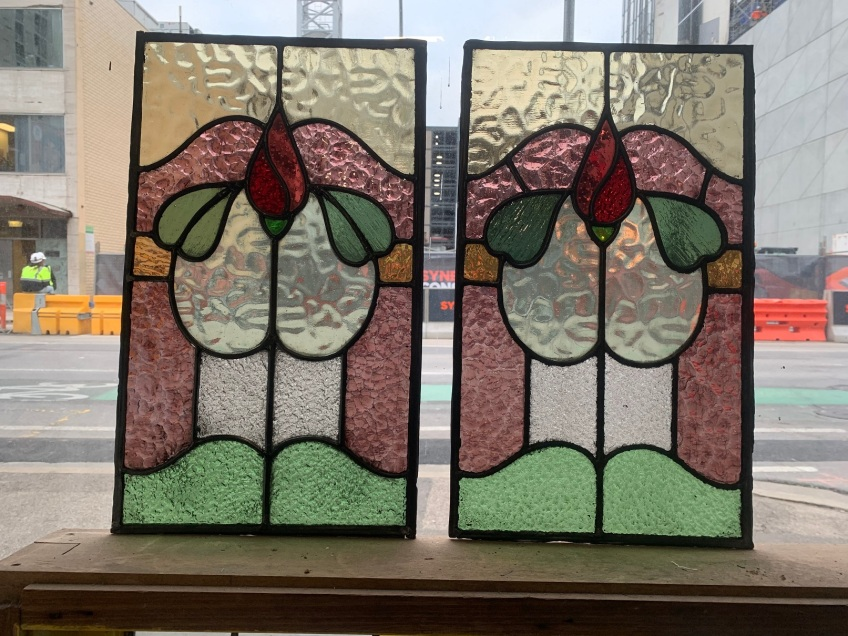 Leadlight panels , 505 mm x 300 mm , $185 each , 2 availablesalvaged, recycled, demolition, reproduction, restoration, renovation,collectable, secondhand, used , original, old, reclaimed, heritage, antique, victorian, art nouveau edwardian, georgian, art deco