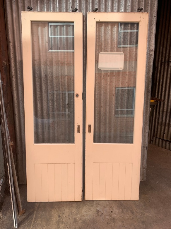 Pair of sliding doors with track, two thirds height has glass panel 1415mm wide x 2330mm tall , plus rollers , $345 the pair salvaged, recycled, demolition, reproduction, restoration, renovation,collectable, secondhand, used , original, old, reclaimed, heritage, antique, victorian, art nouveau edwardian, georgian, art deco