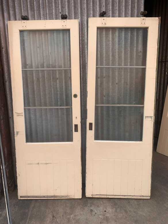 Pair of sliding doors with mesh reinforced glass and tracks, 1710mm wide x 2290mm tall , plus the height of rollers, $345 the pair salvaged, recycled, demolition, reproduction, restoration, renovation,collectable, secondhand, used , original, old, reclaimed, heritage, antique, victorian, art nouveau edwardian, georgian, art deco