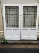 Pair of internal French doors with leadlight , 1935 mm wide x 2000mm tall , $845 the pair salvaged, recycled, demolition, reproduction, restoration, renovation,collectable, secondhand, used , original, old, reclaimed, heritage, antique, victorian, art nouveau edwardian, georgian, art deco