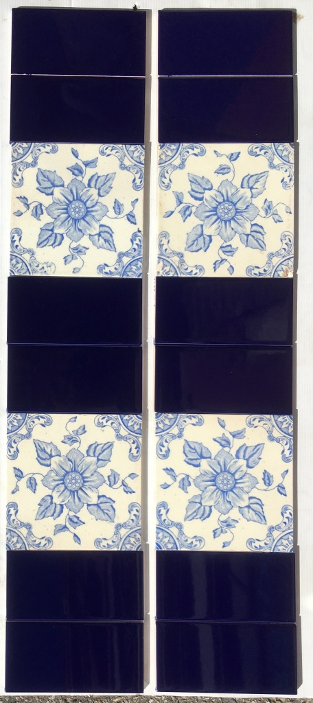 salvagedOriginal Corn Bros picture tiles circa 1898-1904, unusual vivid blue on white, 2 panel fireplace set $260 OTB 11 washstand recycled demolition, reproduction, restoration, renovation,collectable, secondhand, used , original, old, reclaimed, heritage, antique, victorian, edwardian, georgian art nouveau ceramic arts and crafts decorative aesthetic Original Corn Bros picture tiles circa 1898-1904, unusual vivid blue on white, 2 panel fireplace set $260 OTB 11