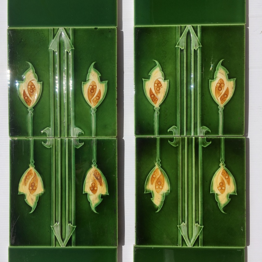 salvaged, recycled, demolition, reproduction, restoration, renovation,collectable, secondhand, used , original, old, reclaimed, heritage, antique, victorian, art nouveau edwardian, georgian, art decoOriginal English picture tiles c 1905-10, two panel fireplace set, $230 OTB 13