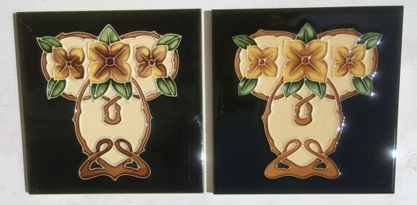 Reproduction 'tubeline' fireplace tiles, 6 x 6inch, Aesthetic / Art Nouveau stylised yellow / brown camelias on deep green, 2 available, $66 pair SET 151 salvaged, recycled, demolition, reproduction, restoration, renovation,collectable, secondhand, used , original, old, reclaimed, heritage, antique, victorian, art nouveau edwardian, georgian, art deco
