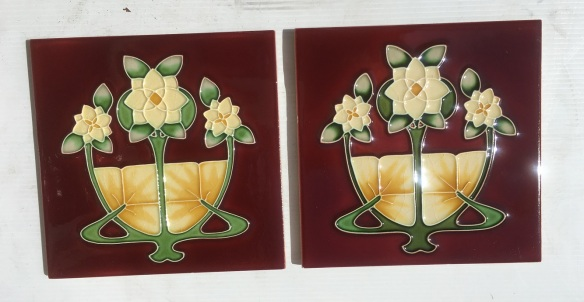 Reproduction 'tubeline' fireplace tiles, 6 x 6 inch, Art Nouveau style, 3 cream gardenias on burgundy background, 2 available, $66 pair SET 140Reproduction 'tubeline' fireplace tiles, 6 x 6 inch, Art Nouveau style, 3 cream gardenias on burgundy background, 2 available, $66 pair SET 141 salvaged, recycled, demolition, reproduction, restoration, renovation,collectable, secondhand, used , original, old, reclaimed, heritage, antique, victorian, art nouveau edwardian, georgian, art deco
