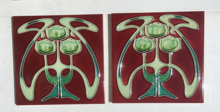Reproduction 'tubeline' fireplace tiles, 6 x 6inch, Art Nouveau stylised green tulips on burgundy, 2 available, $66 pair WS salvaged, recycled, demolition, reproduction, restoration, renovation,collectable, secondhand, used , original, old, reclaimed, heritage, antique, victorian, art nouveau edwardian, georgian, art deco