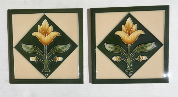 Reproduction 'tubeline' fireplace tiles, 6 x 6inch, yellow tulip in a green diamond, buff background, 2 available, $66 pair SET 139 salvaged, recycled, demolition, reproduction, restoration, renovation,collectable, secondhand, used , original, old, reclaimed, heritage, antique, victorian, art nouveau edwardian, georgian, art deco
