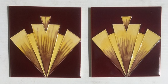 Reproduction 'tubeline' fireplace tiles, 6 x 6 inch, geometric Art Deco design, burgundy and yellow, 2 available, $66 pair SET 148