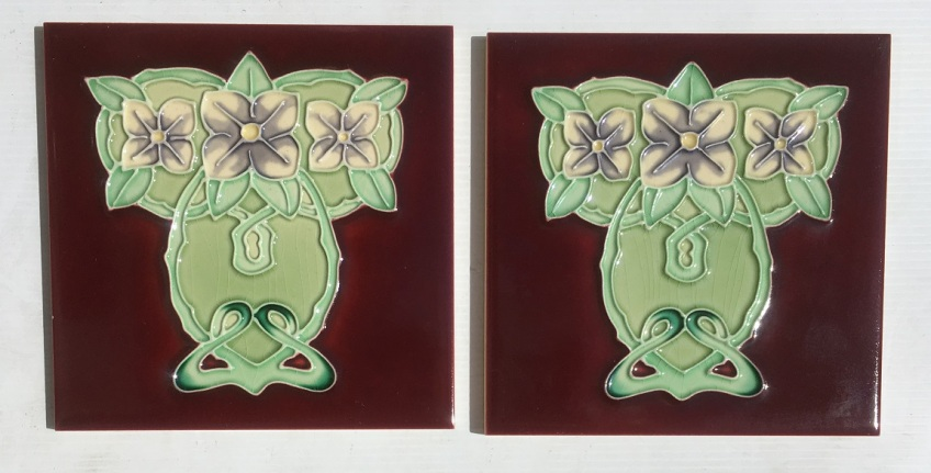 Reproduction H and R Johnson 'tubeline' fireplace tiles, 6 x 6 inch, Art Nouveau style, lavender camelias on burgundy background, 2 available, $66 pair SET 140 salvaged, recycled, demolition, reproduction, restoration, renovation,collectable, secondhand, used , original, old, reclaimed, heritage, antique, victorian, art nouveau edwardian, georgian, art deco