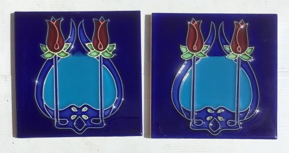 Reproduction 'tubeline' fireplace tiles, 6 x 6inch, Art Nouveau style double red rose design on two vivid blues, 2 available, $66 pair SET 138salvaged, recycled, demolition, reproduction, restoration, renovation,collectable, secondhand, used , original, old, reclaimed, heritage, antique, victorian, art nouveau edwardian, georgian, art deco